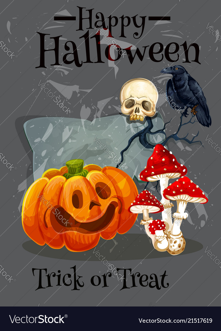 Happy halloween trick treat greeting card