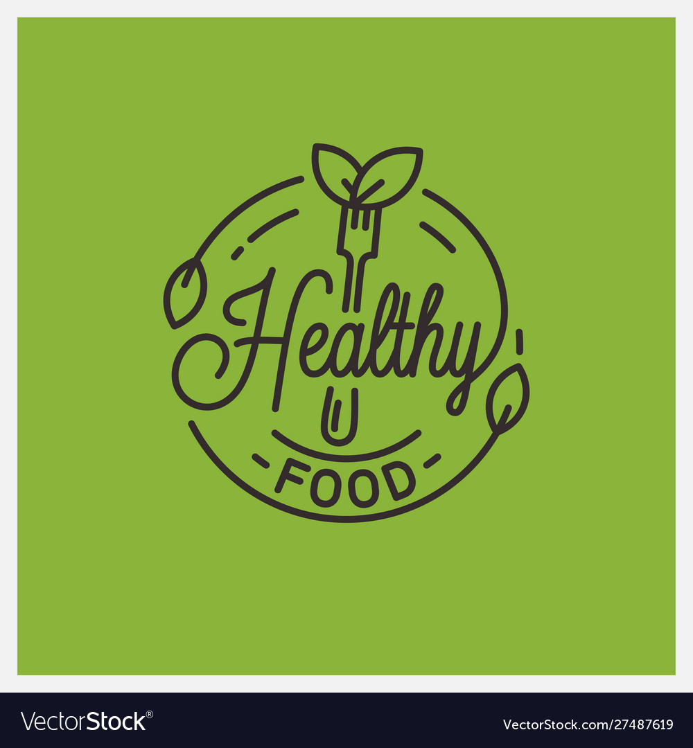 Healthy food logo round linear fork and leafs