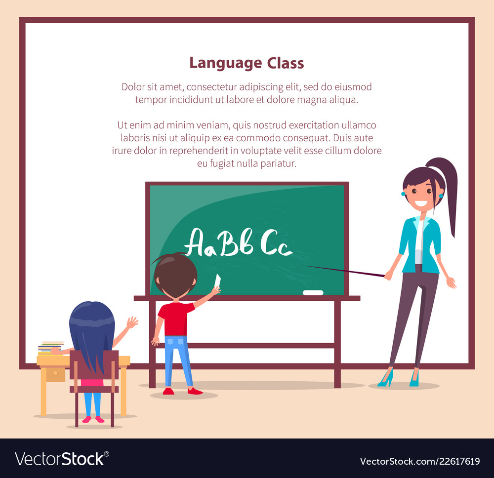 Language class in primary school banner