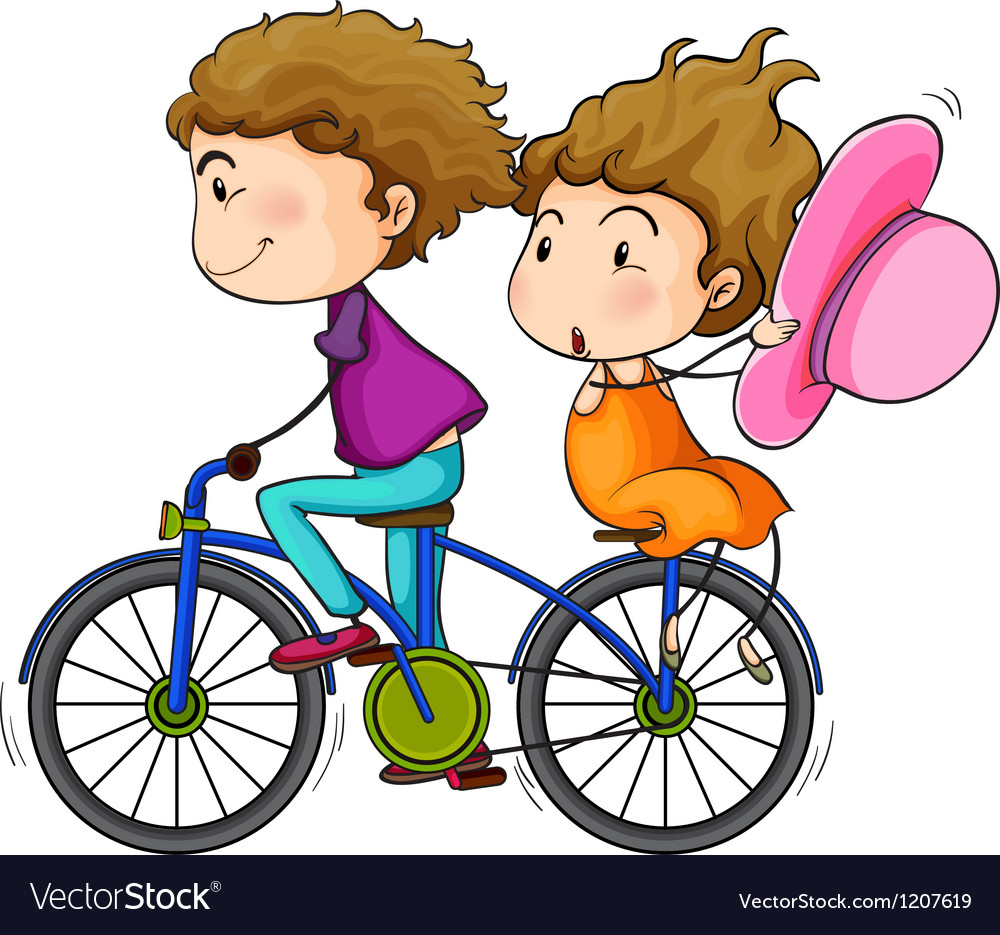 lovers riding a bike royalty free vector image