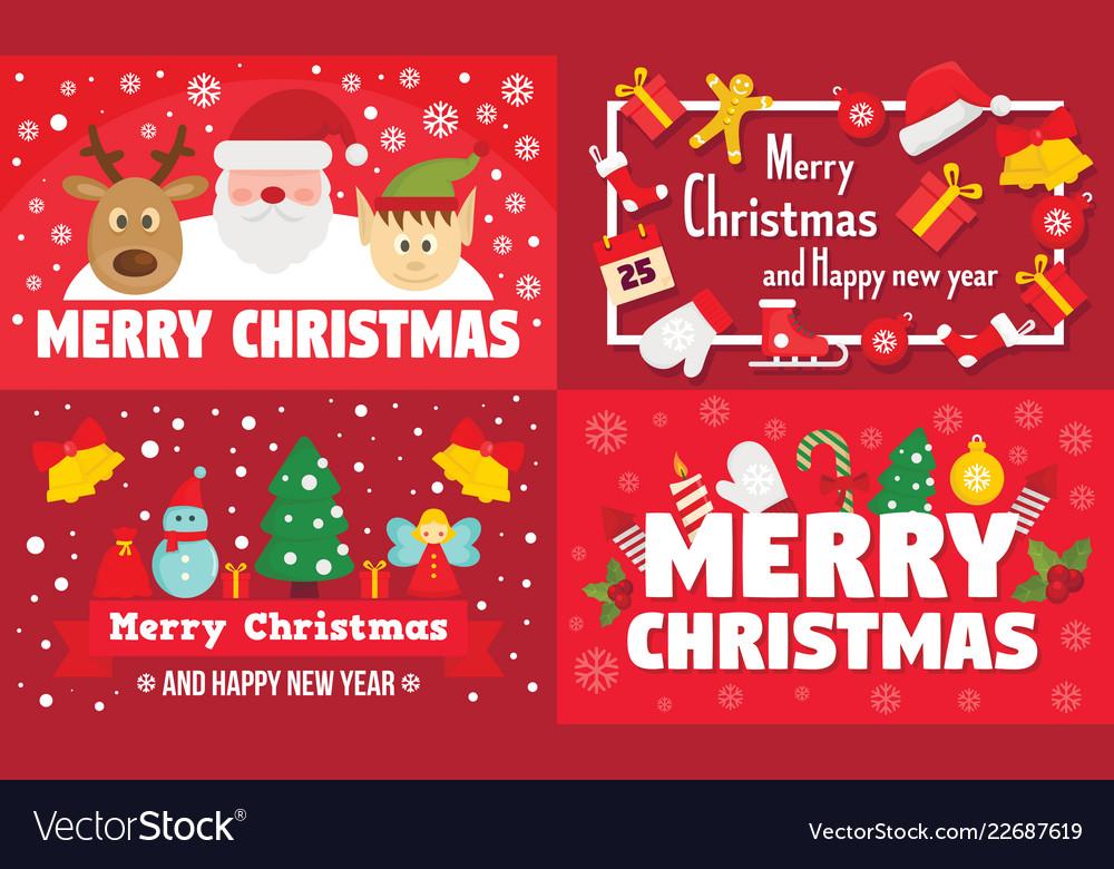 Merry christmas banner set flat style