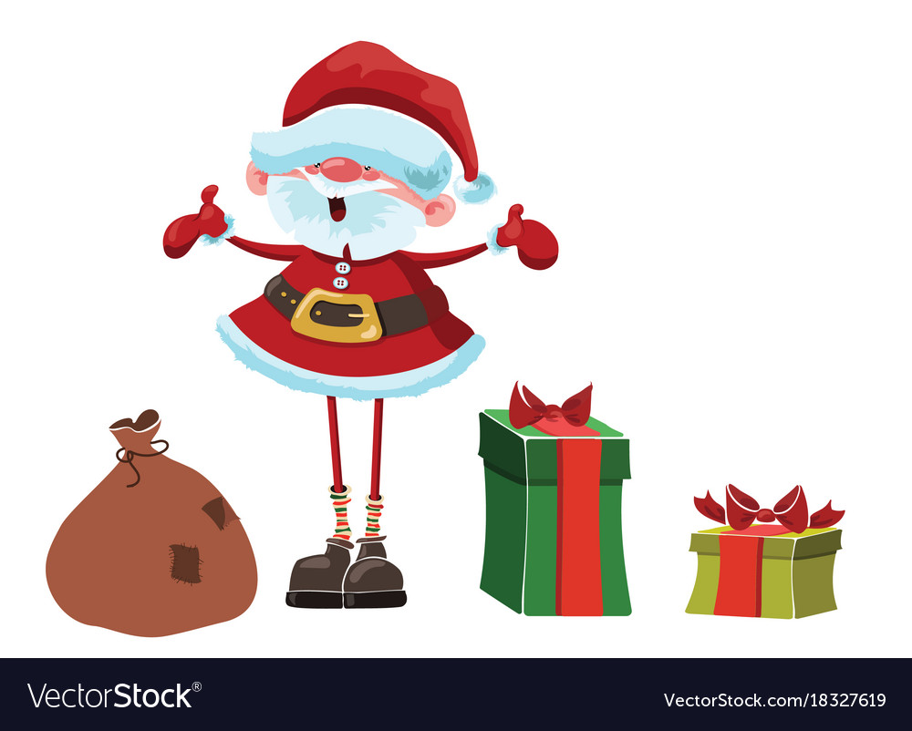 Santa claus with gifts funny cartoon santa claus