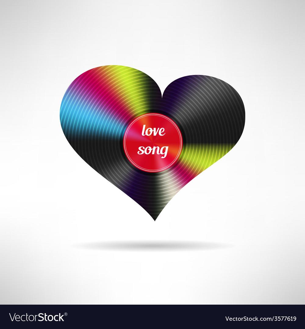 Vinyl heart shape Love song