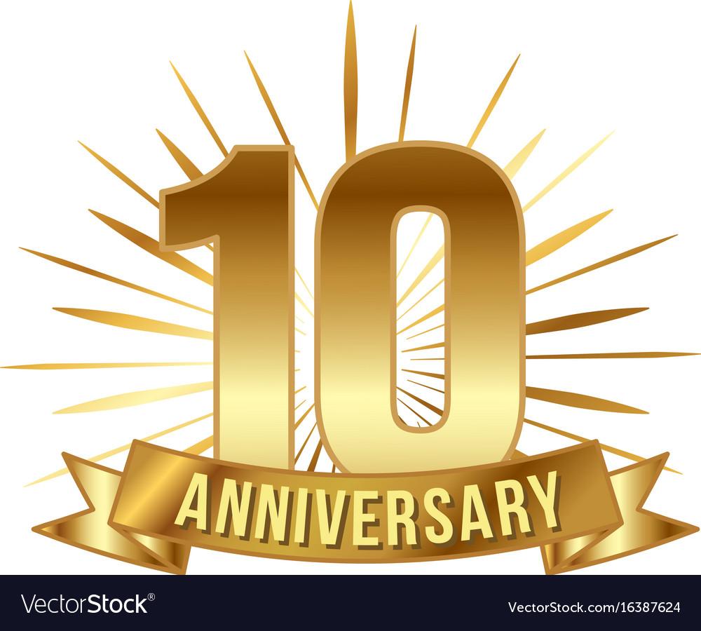 Anniversary golden ten years number vector image