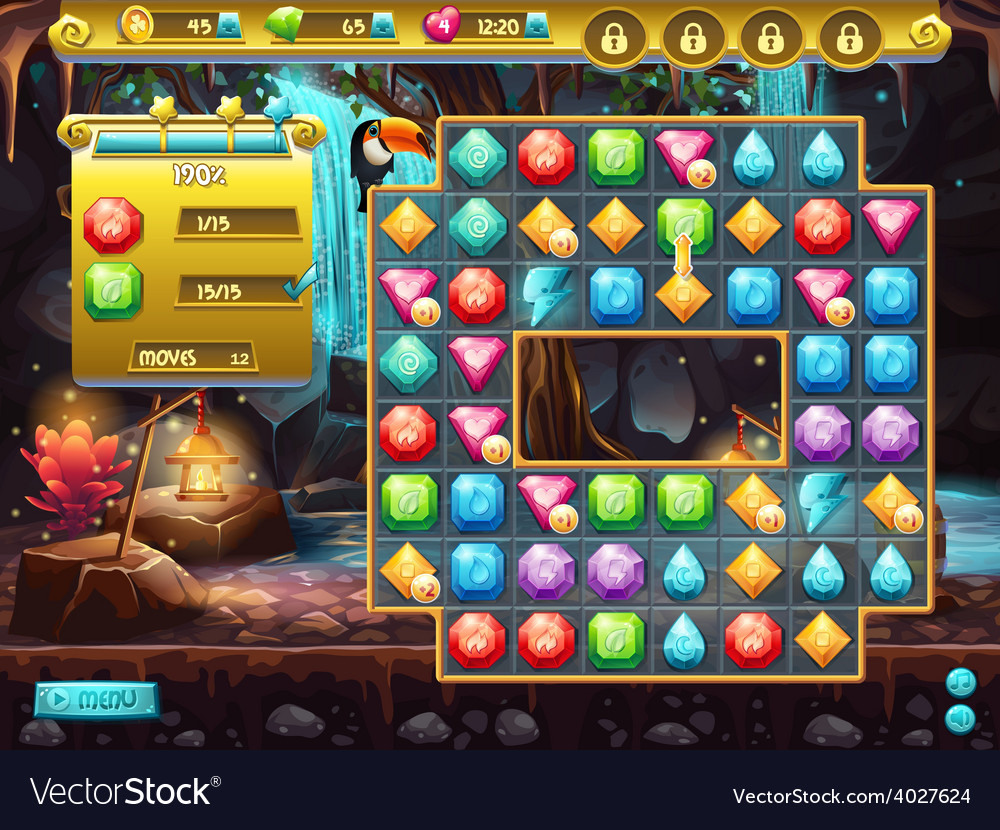 Example of the user interface and the playing