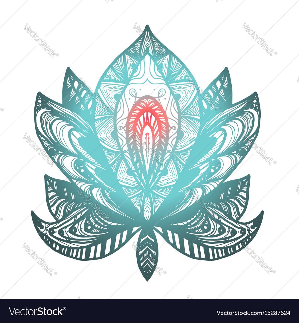 Flower Lotus Tattoo Royalty Free Vector Image Vectorstock