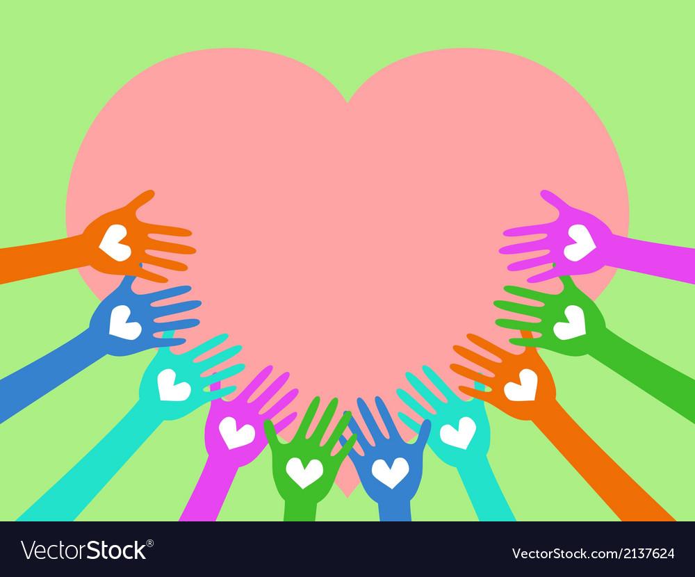 Hands around heart vector image