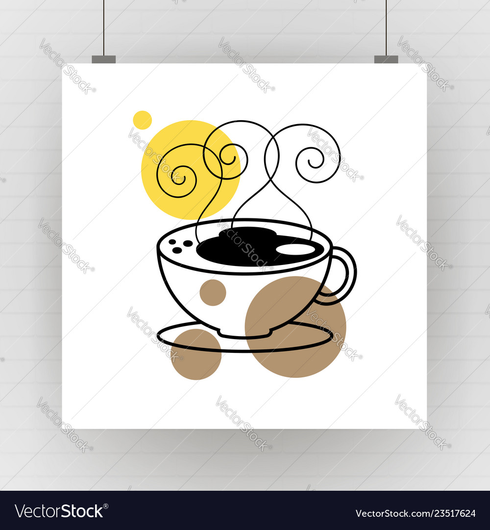 Hot coffee mug drawing art