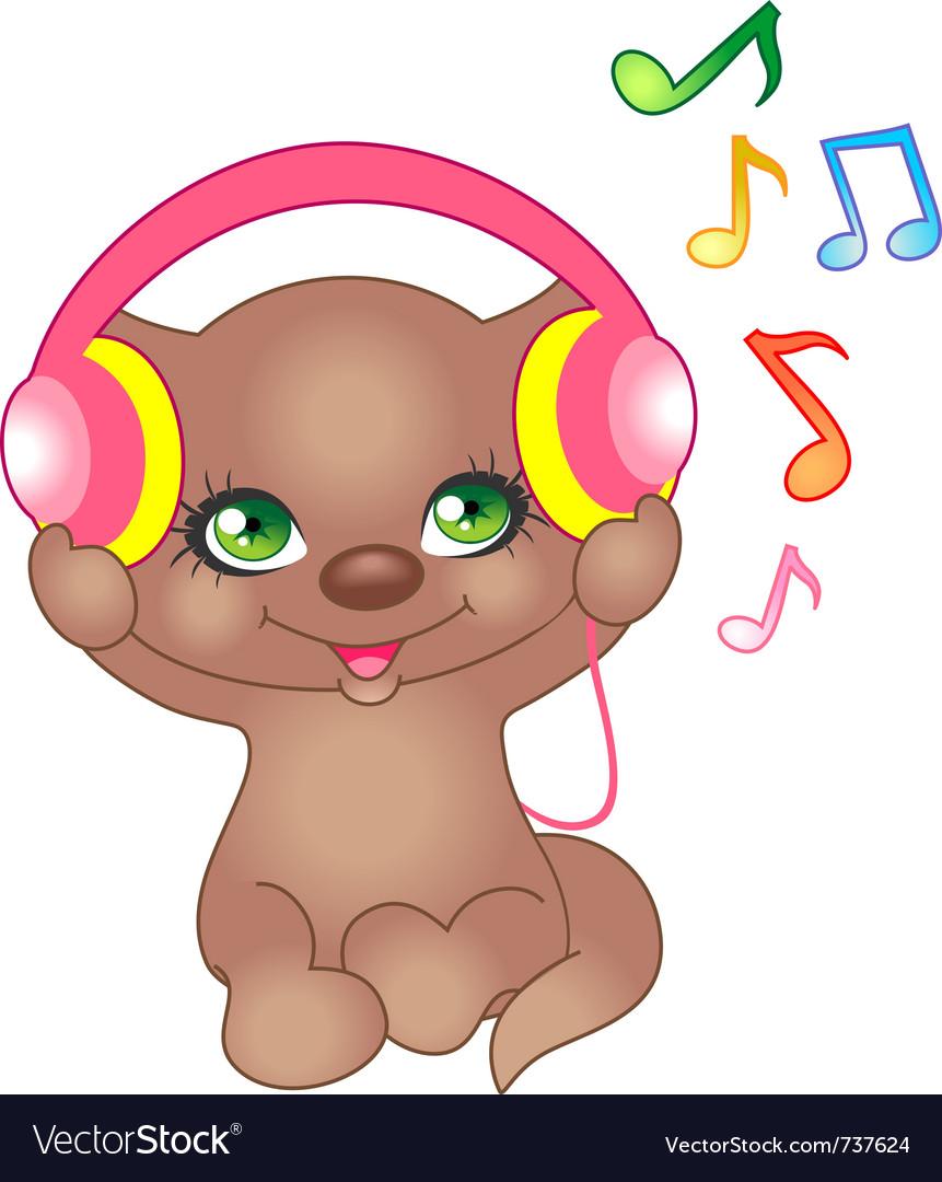 Kitten with headphones