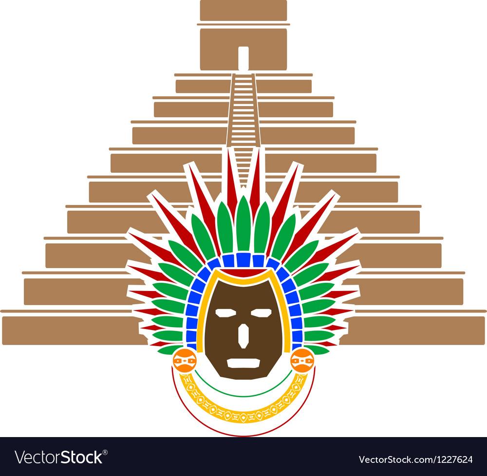 Mayan pyramid and mask