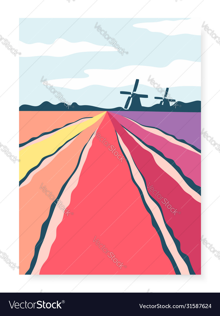 Poster with abstract hand drawn tulip fields and vector
