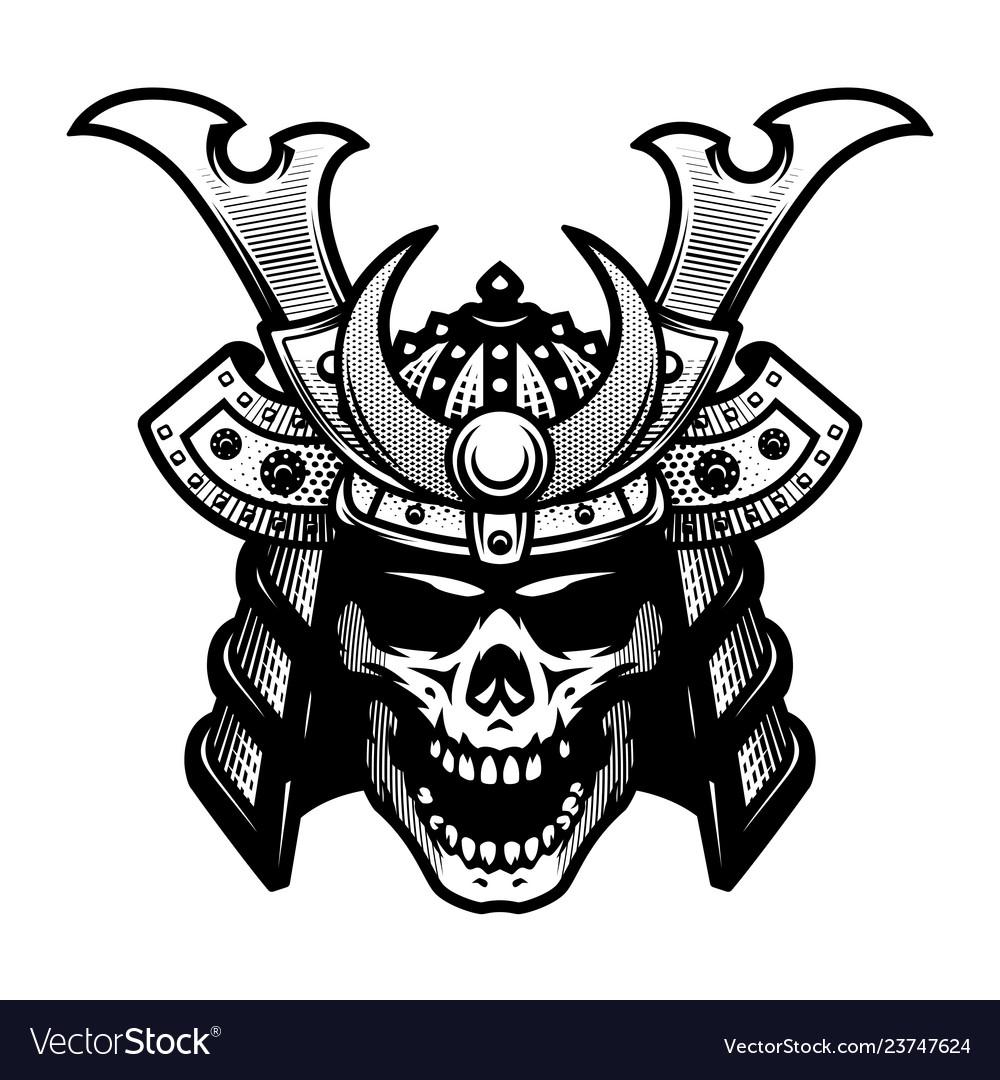 Samurai skull warrior helmet in black and white