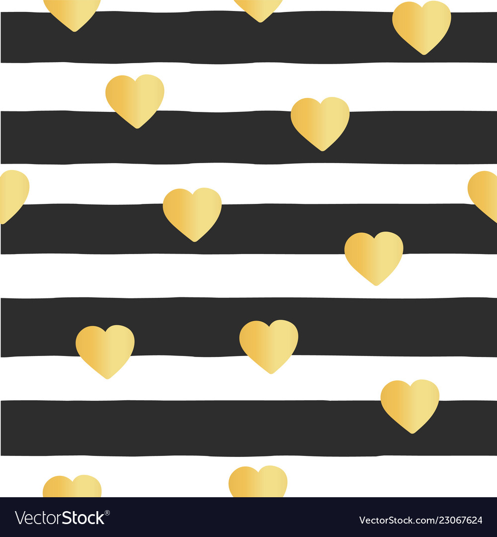Seamless pattern stripes gold foil hearts