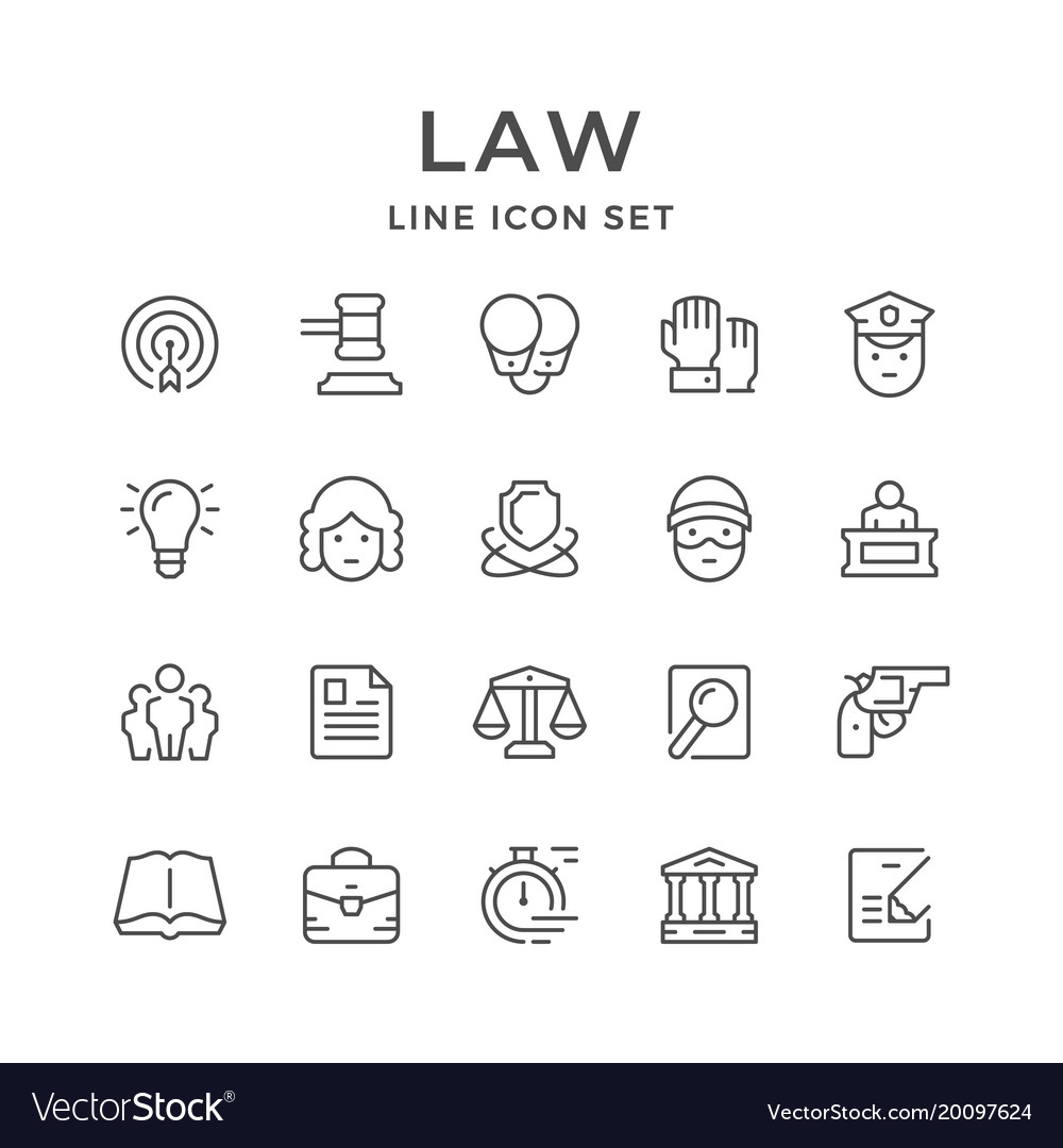 Set line icons of law
