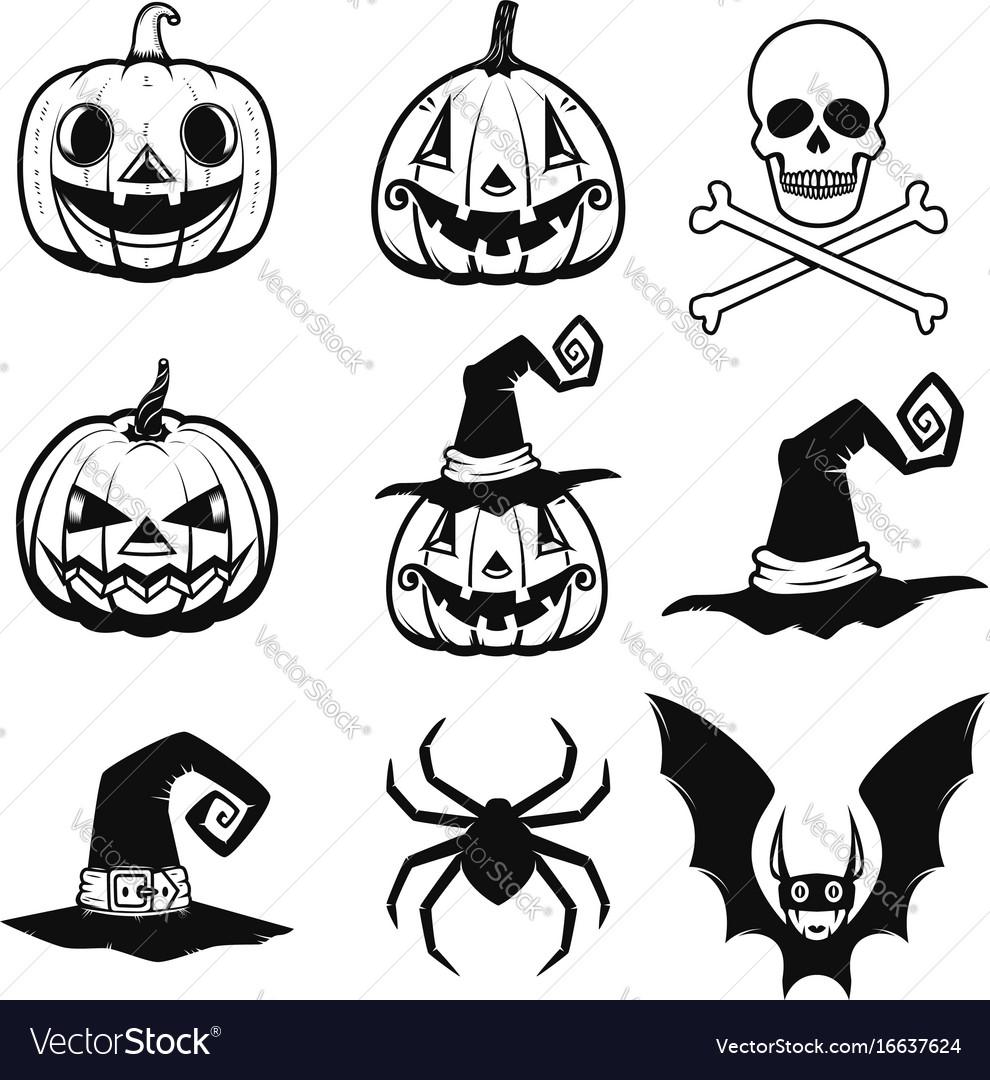 Set of halloween icons halloween pumpkin bats