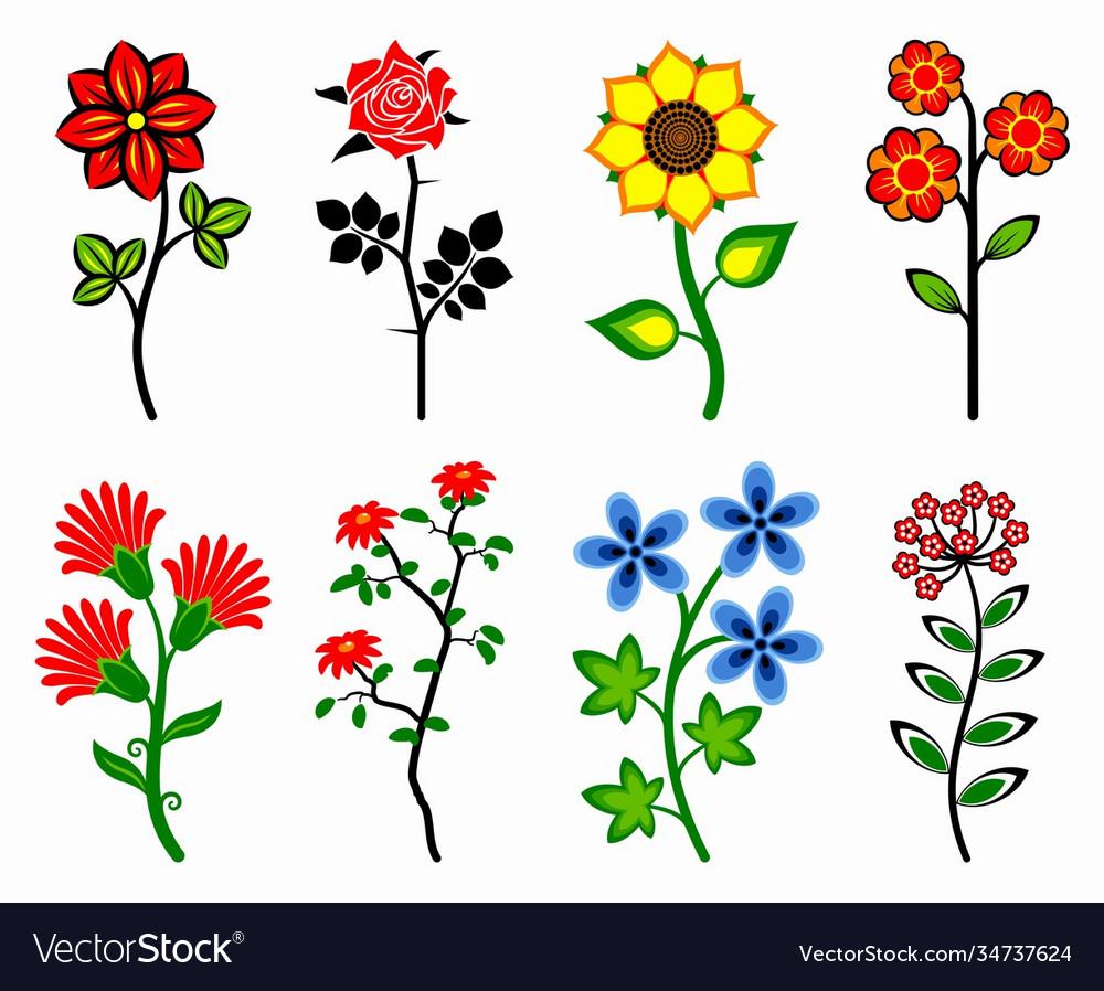 Set stylized flowers