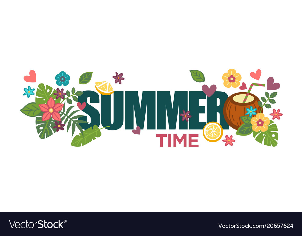 Summertime poster with bright flowers palm leaves