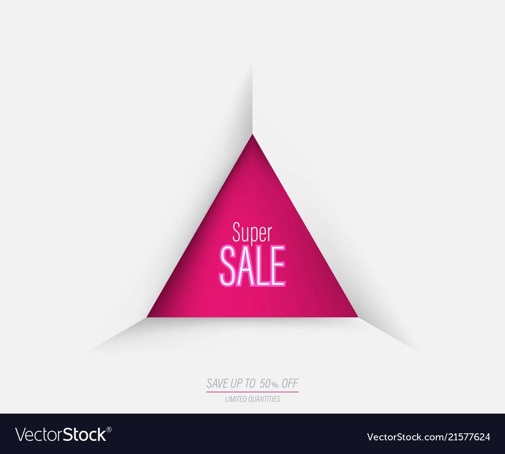 triangle geometric super sale template banner vector image