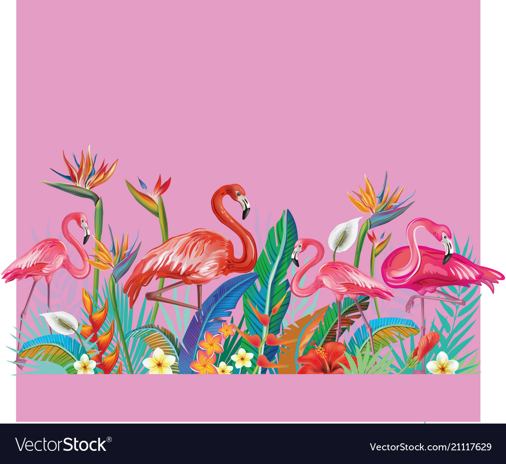 Arrangement from flowers and flamingoes