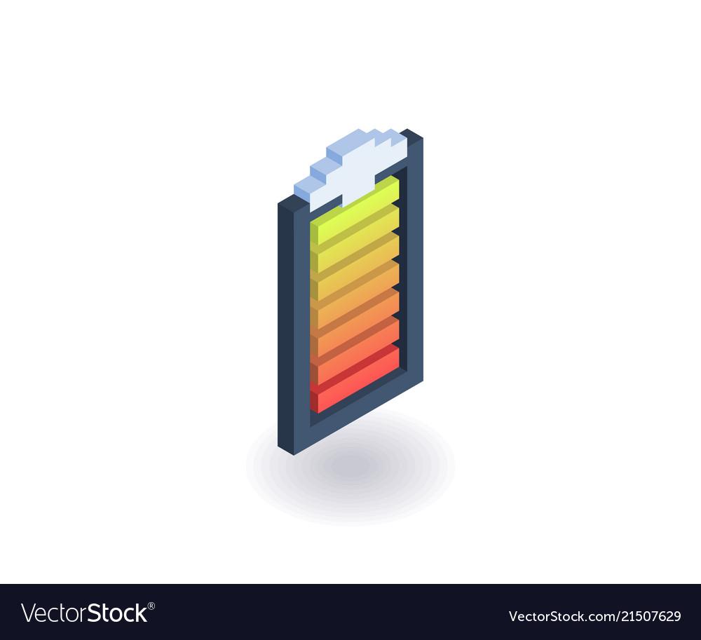 Battery indicator isometric icon