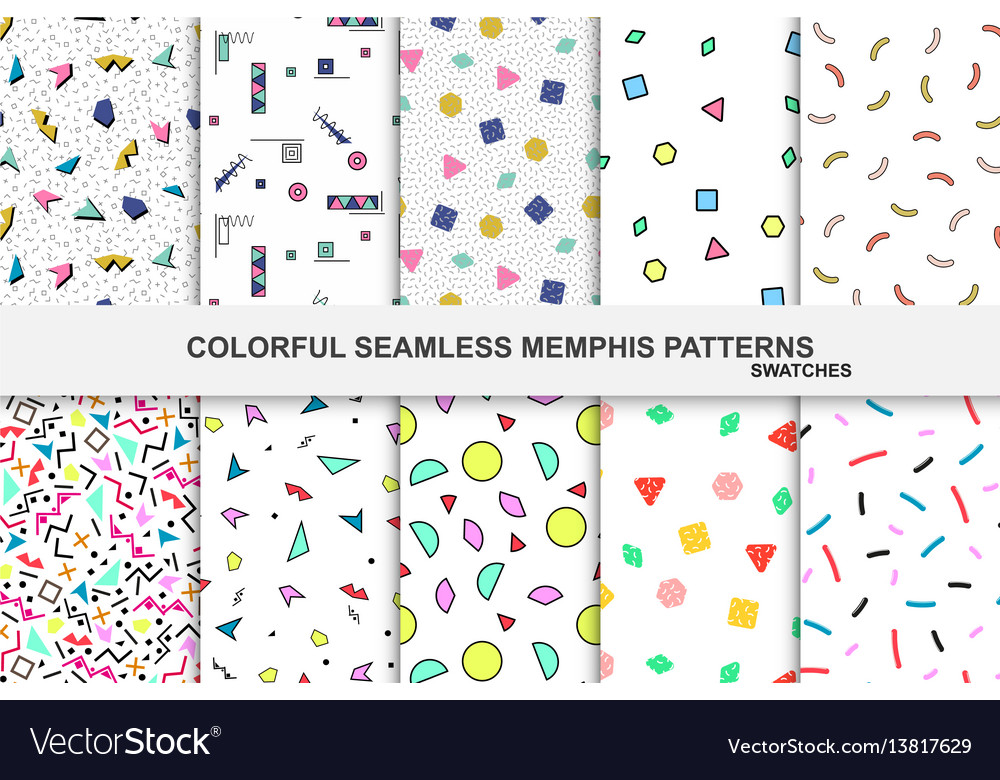 Collection of abstract memphis colorful patterns