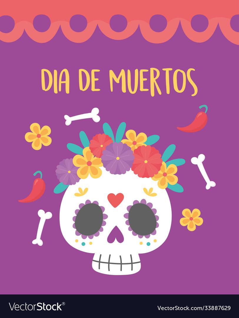 Day dead mexican celebration skull