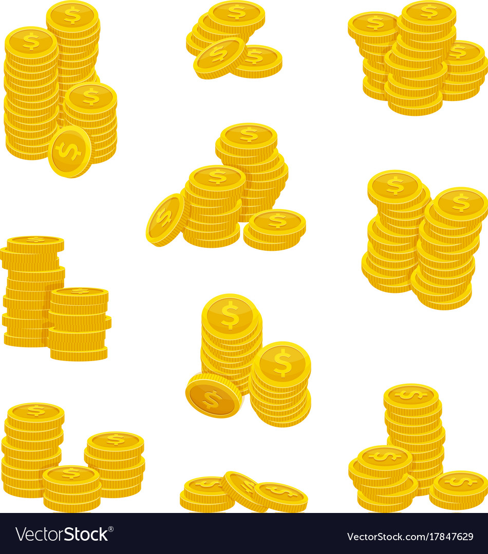 Different stacks of golden coins