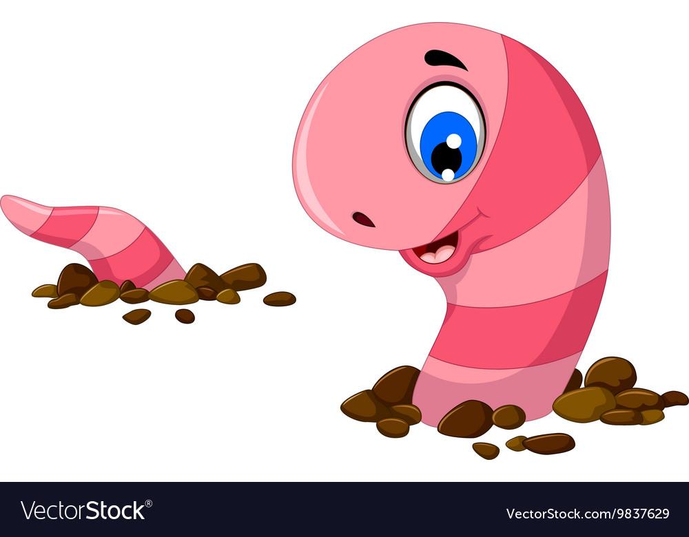 Funny worm cartoon on the sand