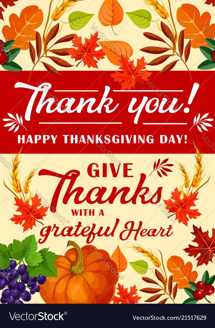 Happy Thanksgiving Day >> Greeting Card For Happy Thanksgiving Day Vector Image
