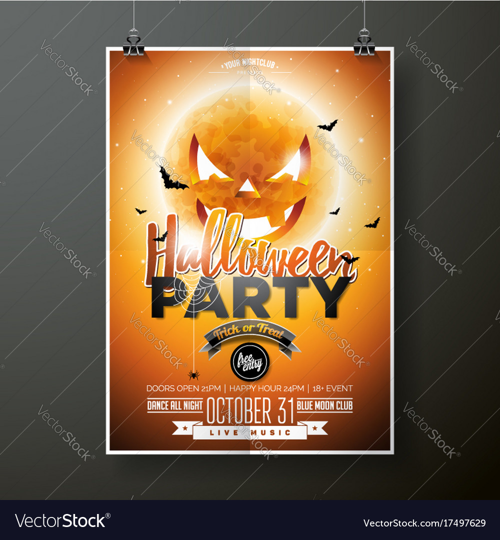 Halloween party with moon on vector image