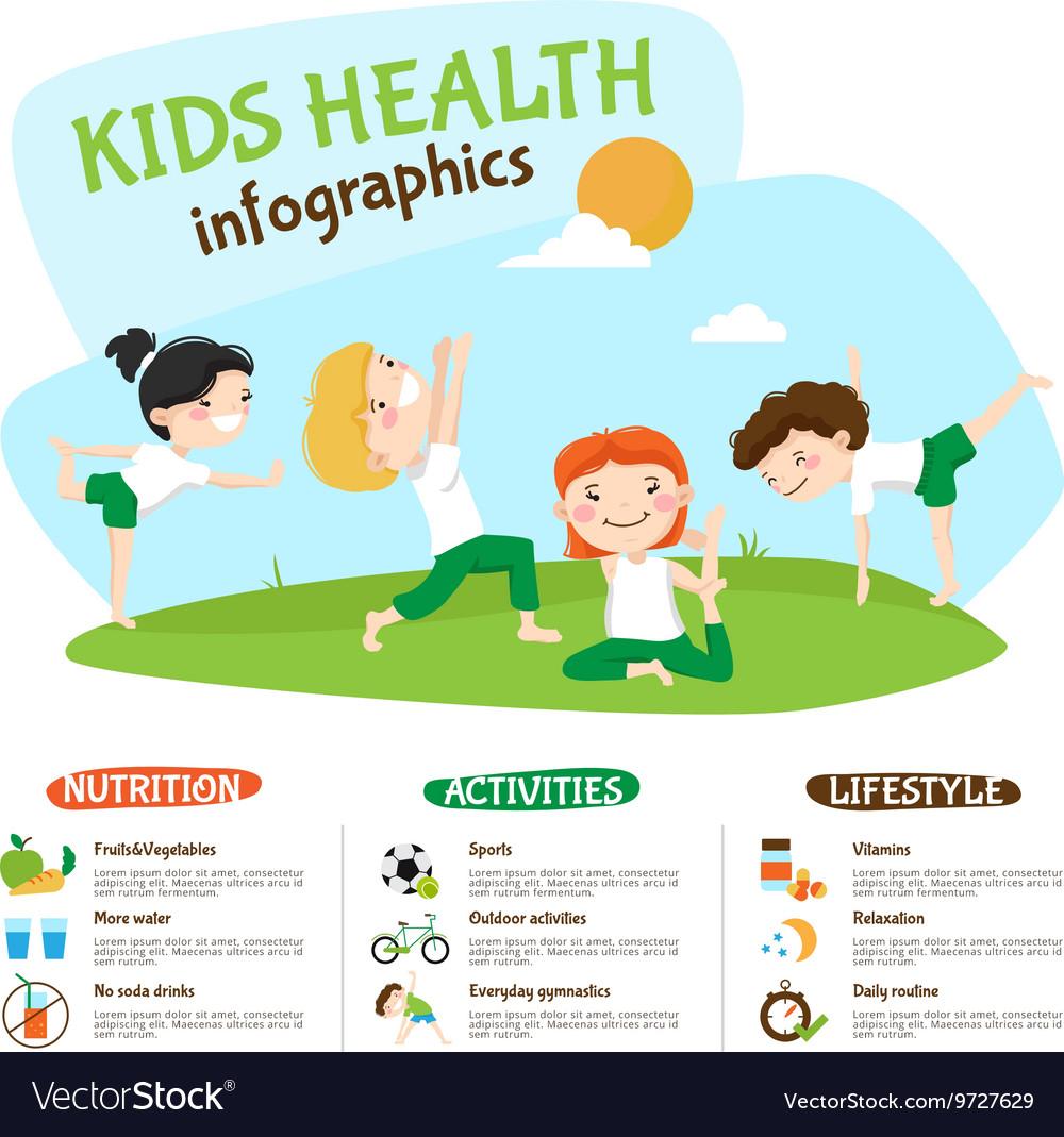 Kids Healthy Lifestyle Yoga Inforgrahic Poster Vector Image