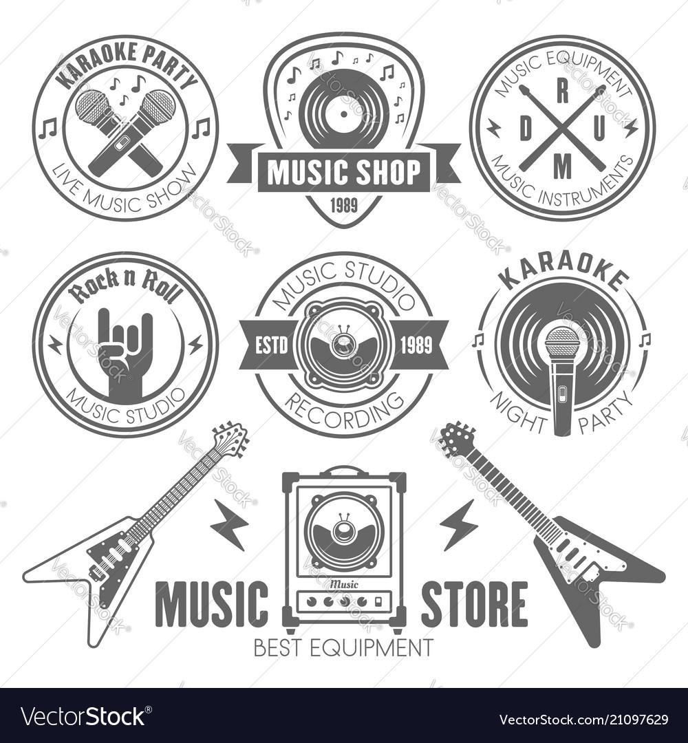 Music shop recording studio karaoke club labels