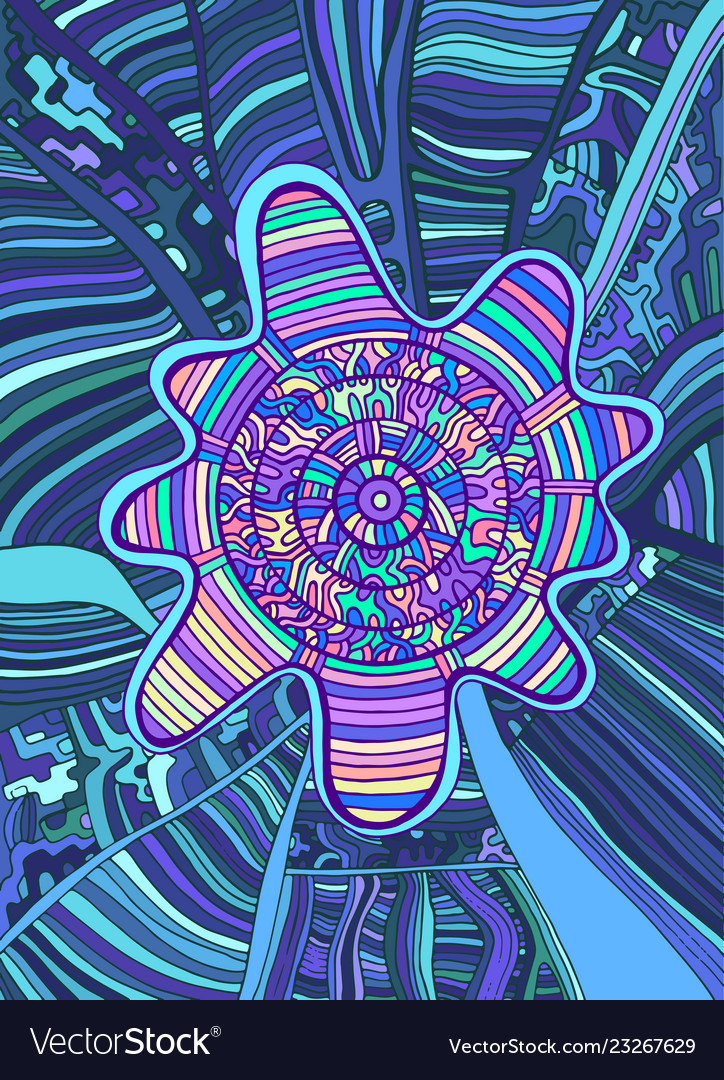 Psychedelic Colorful Surreal Doodle Background Vector Image