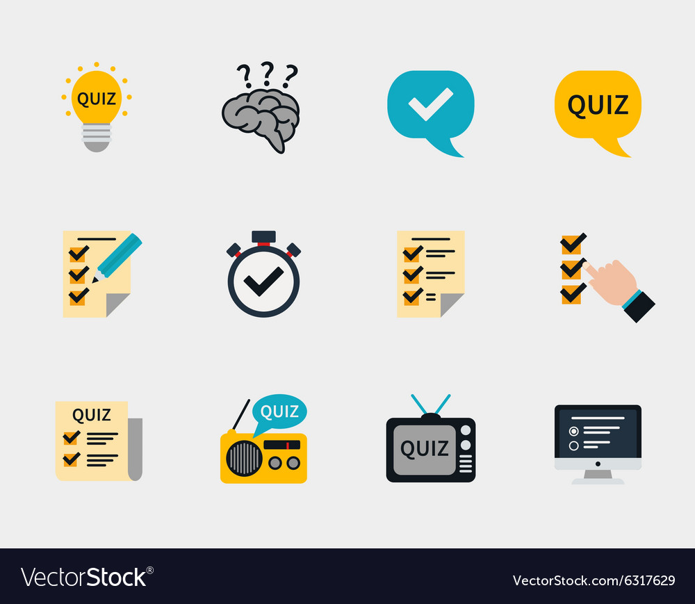 Raffle prizes and quiz flat icons Royalty Free Vector Image