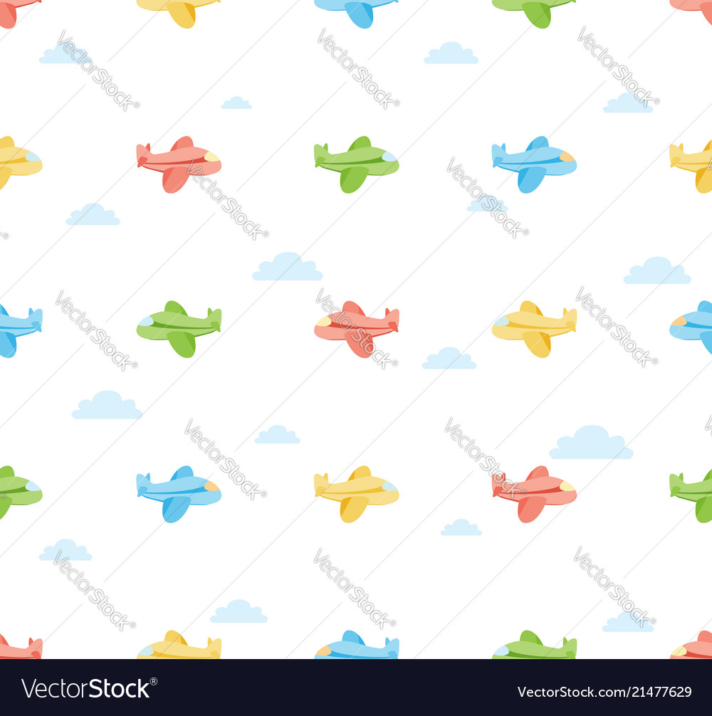 Seamless colorful airplane pattern with cloud