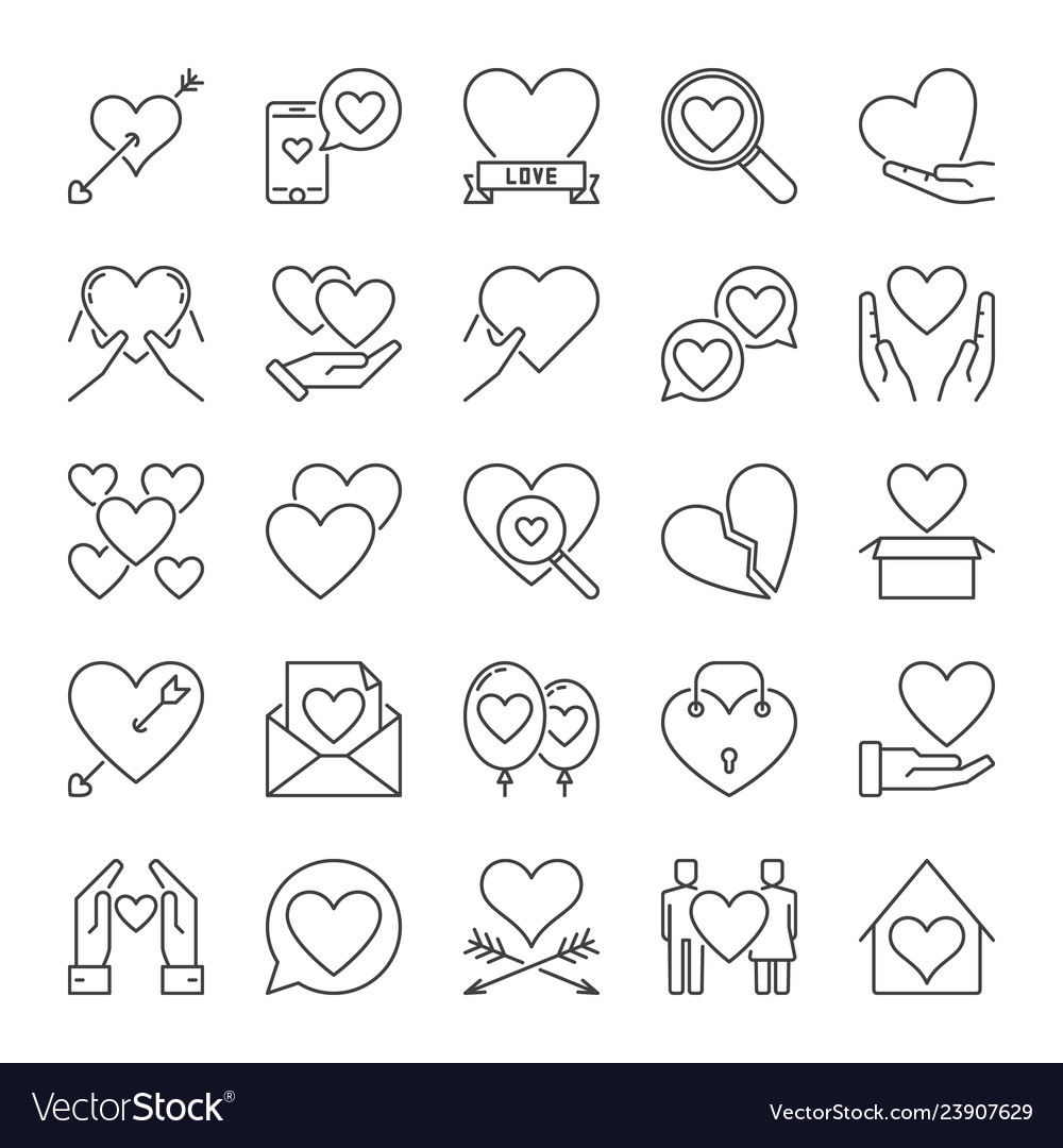 Set of love concept icons or logo elements in