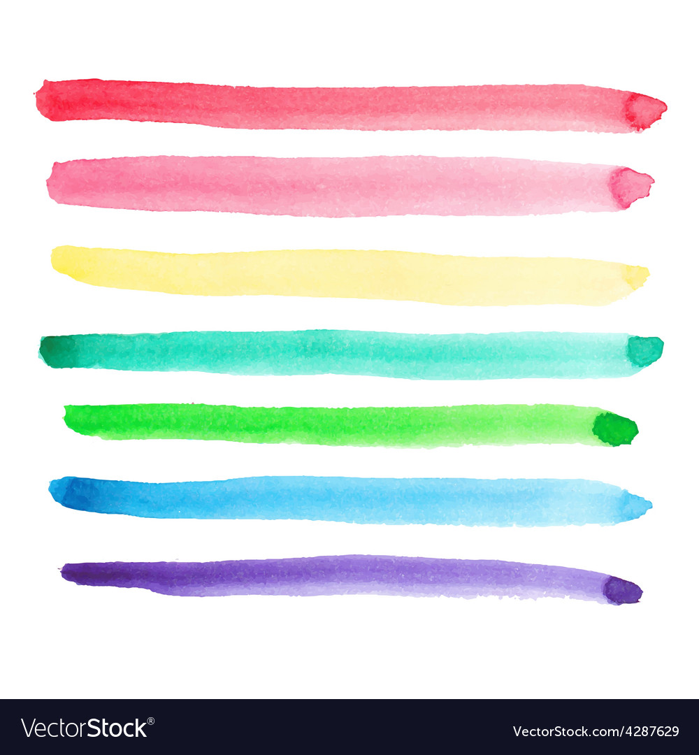 Set of vivid watercolor brush strokes vector image