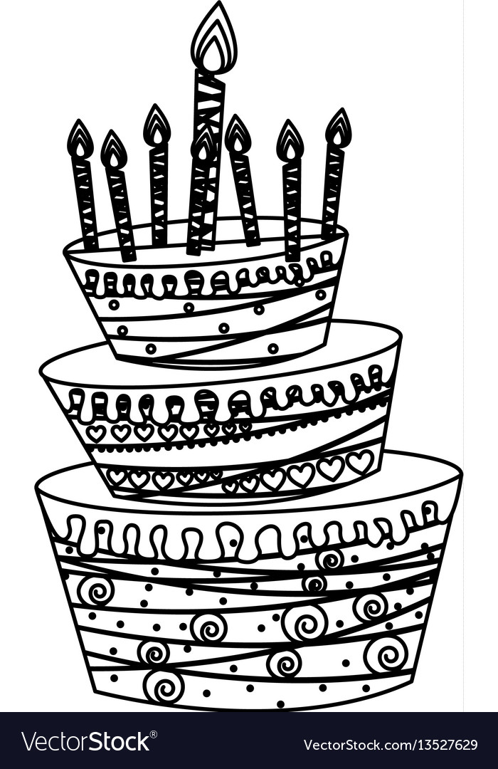 Silhouette big cake party with canddles icon