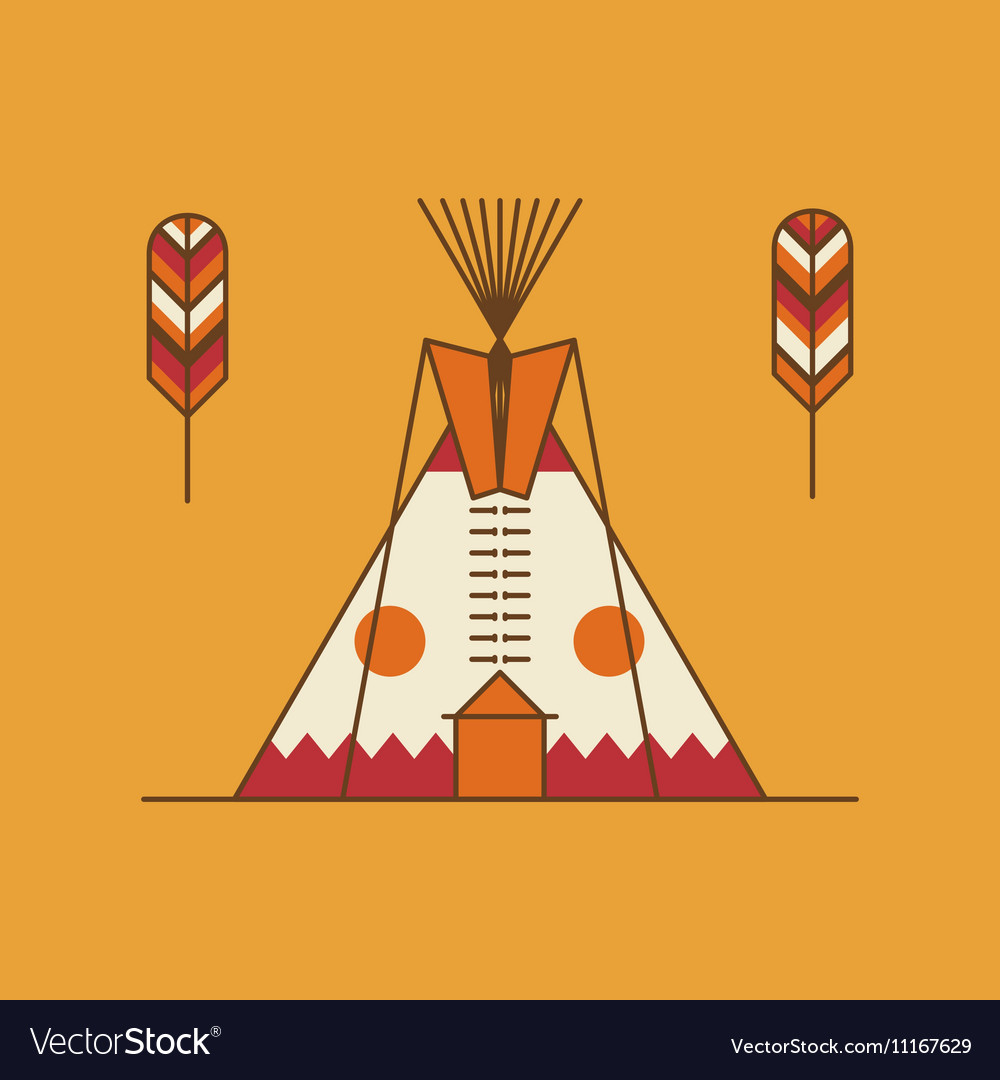 Traditional native american tipi and feathers