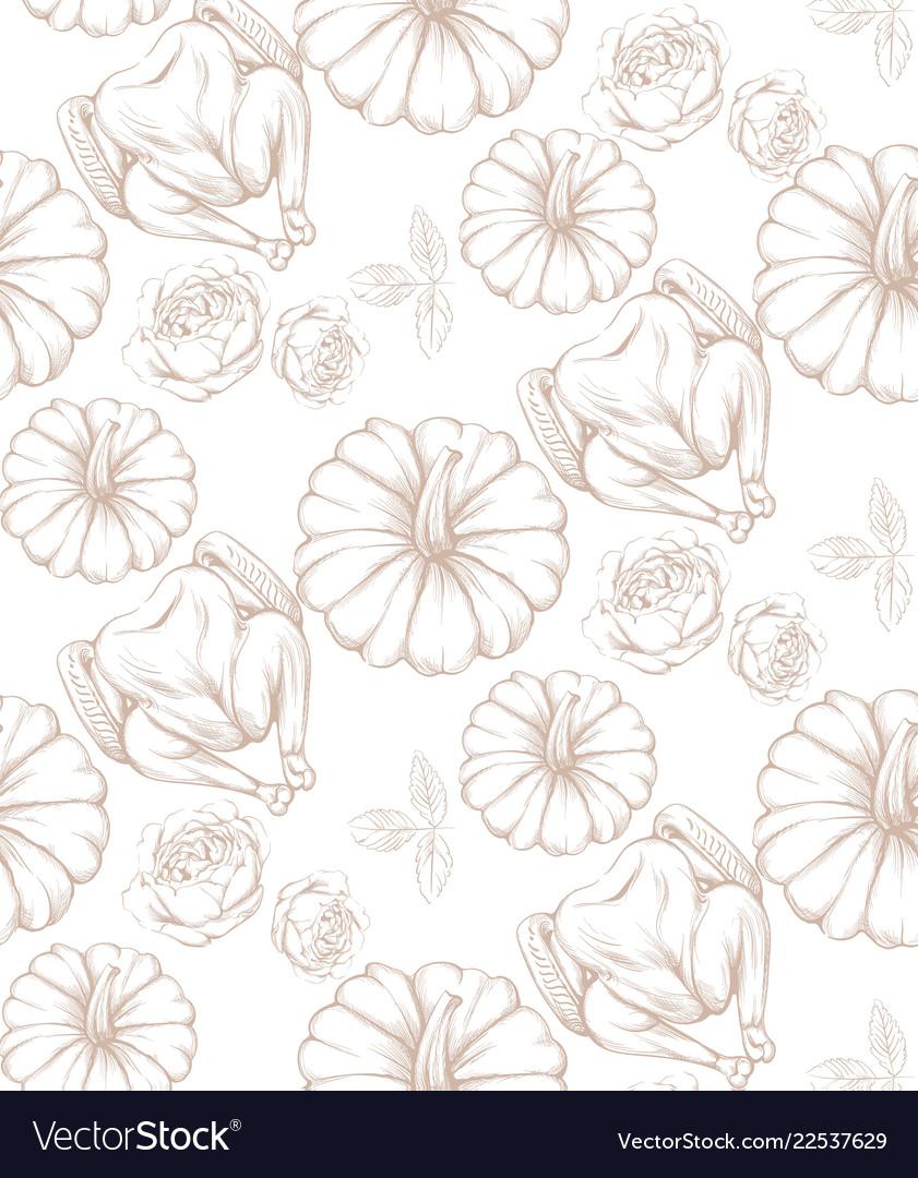 Turkey and pumpkins pattern line art decor
