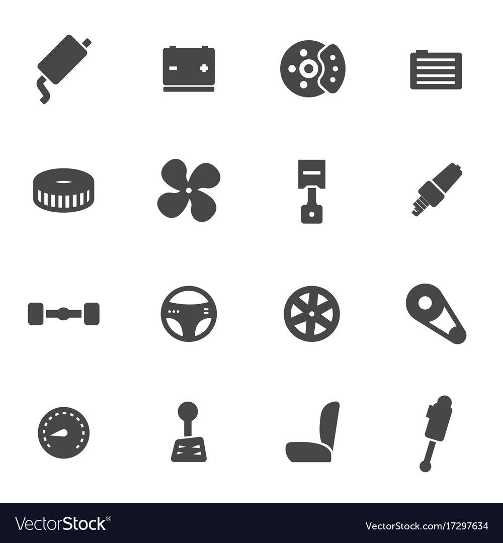 Black car parts icons set vector image