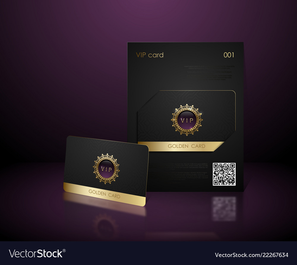 Black vip card presentation with golden