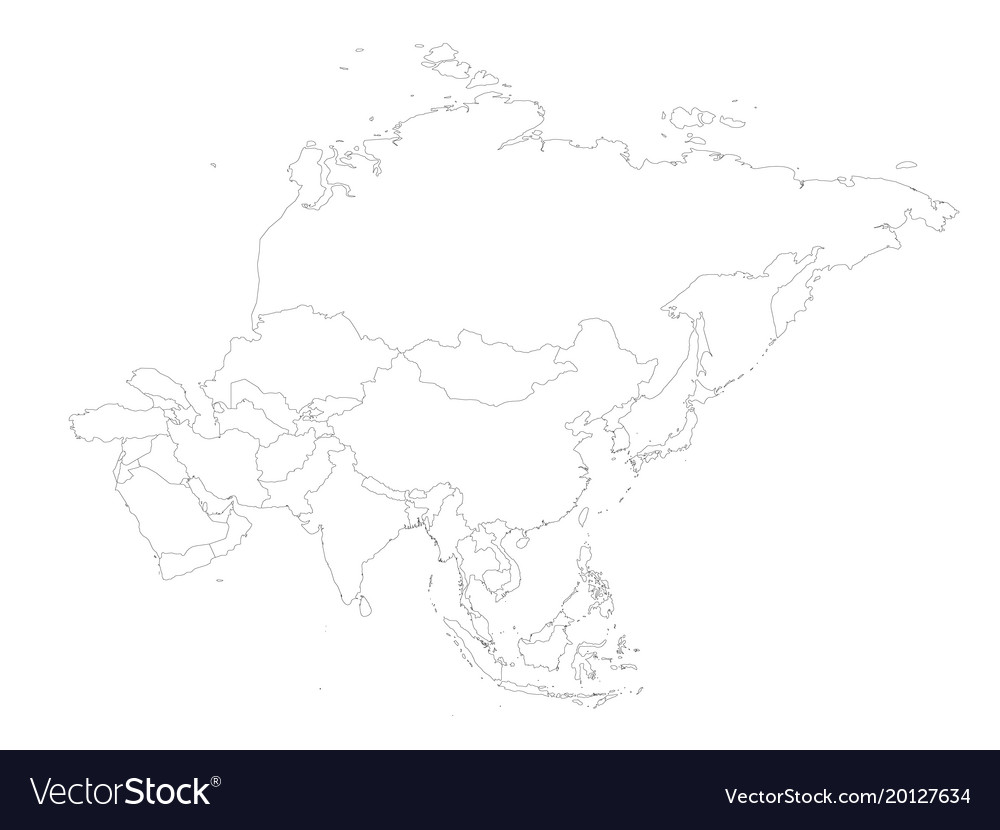 Blank political outline map of asia continent Vector Image
