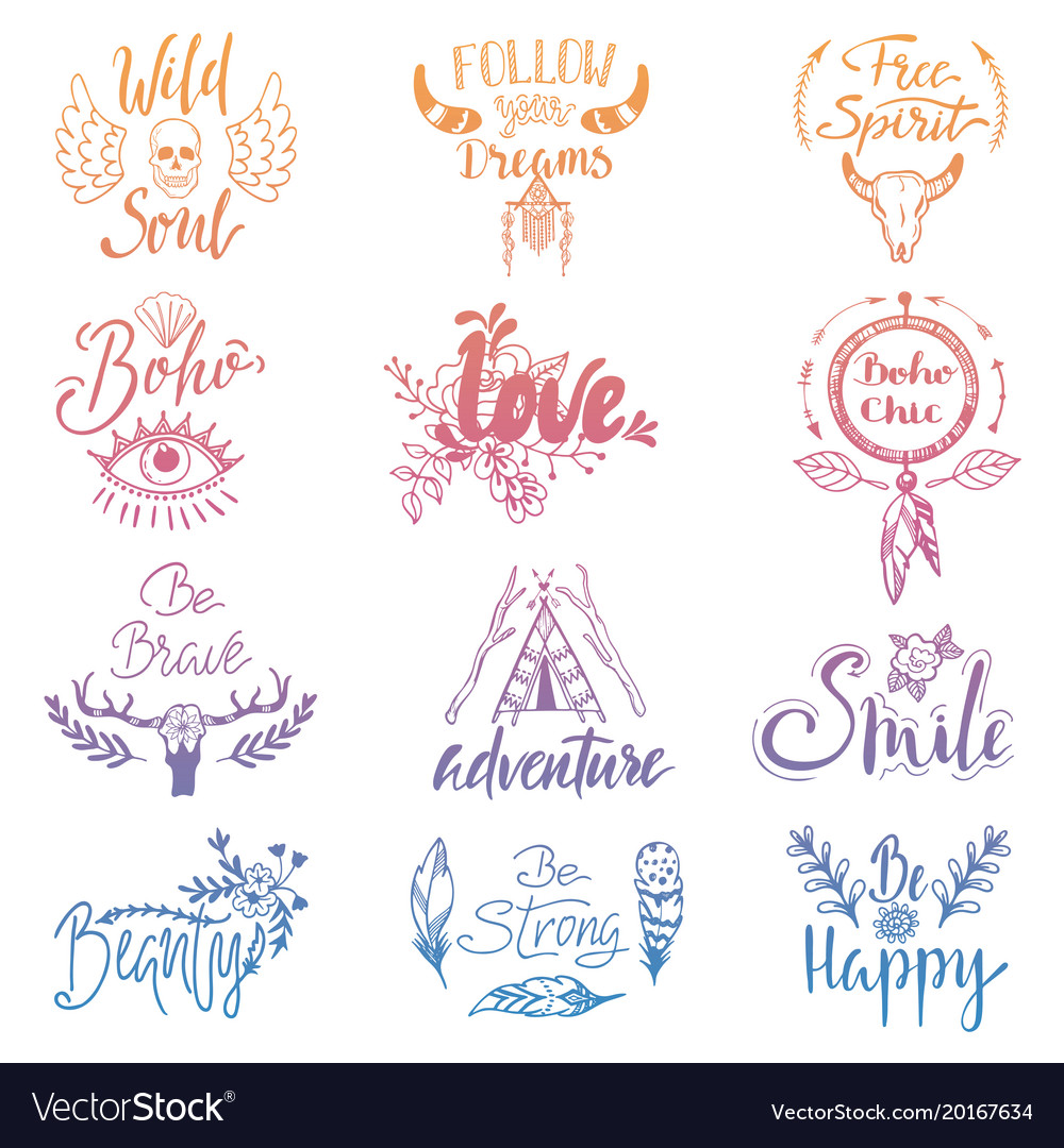 Boho lettering ethnic bohemian feather vector image