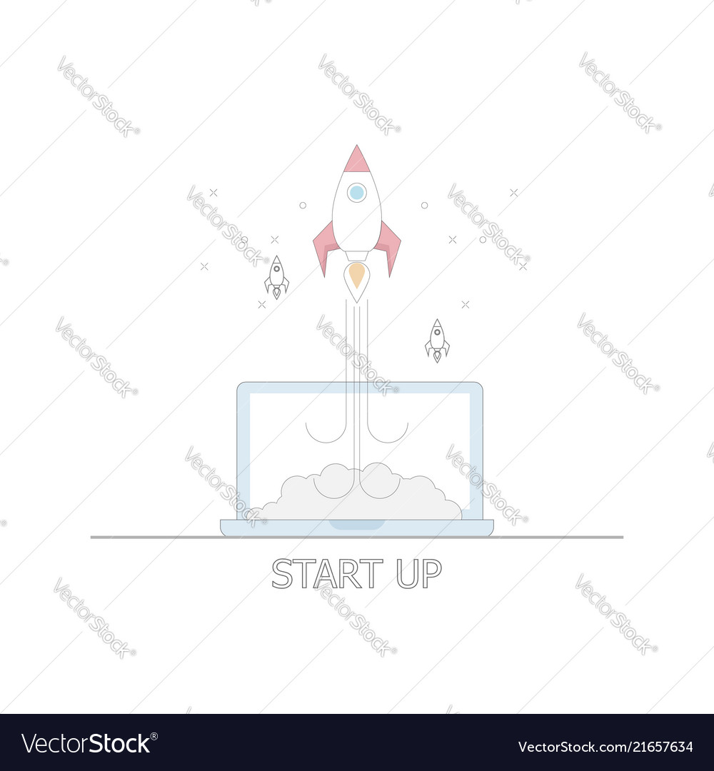 Business startup concept rocket launch from laptop