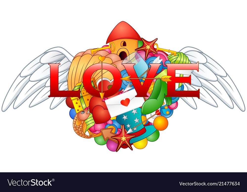 Cartoon hand drawn doodles love heart with angel w