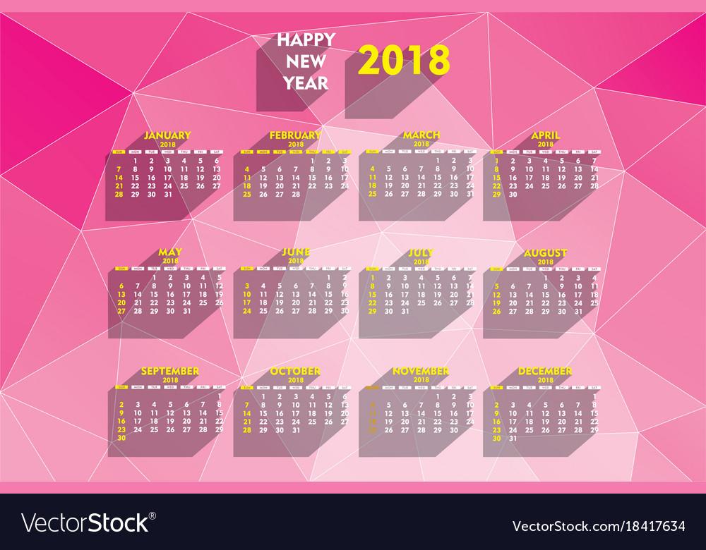 Creative new year 2018 calendar design
