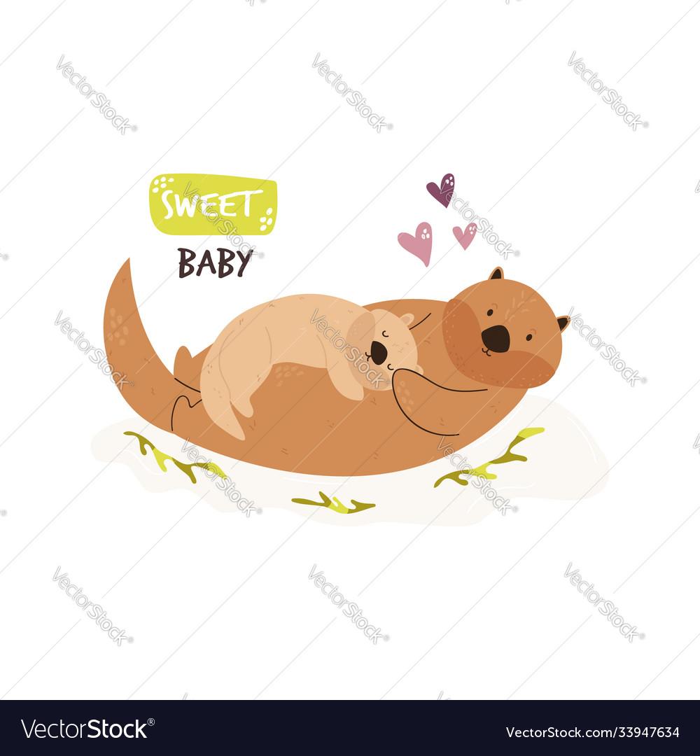 Cute swimming otter family baby cartoon design