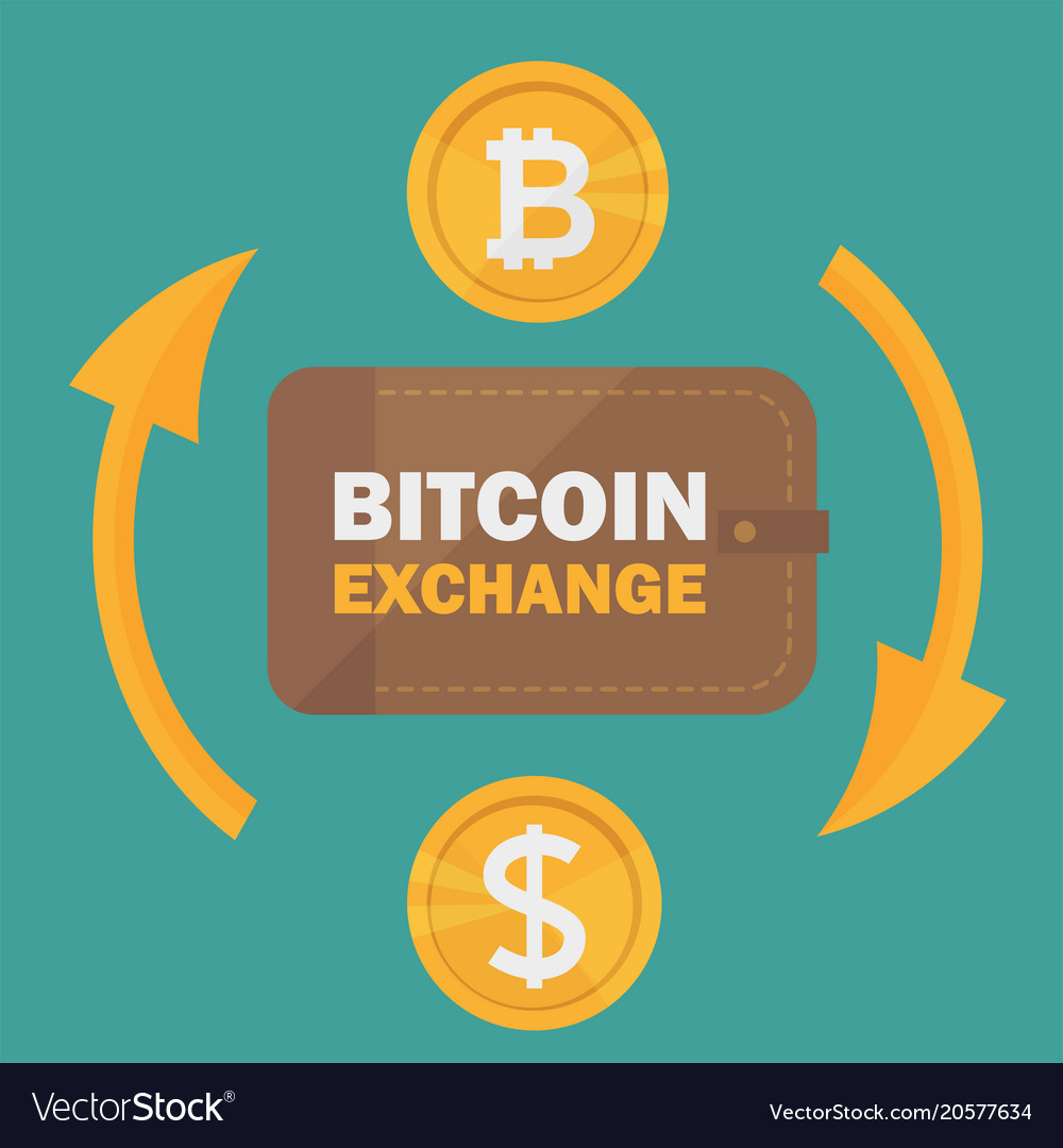 Currency Exchange Bitcoin Vector Image