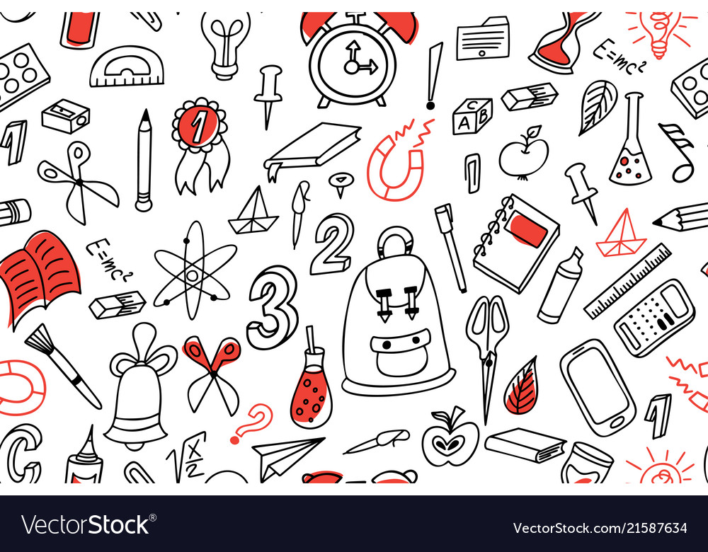 Doodle seamless background school pattern with